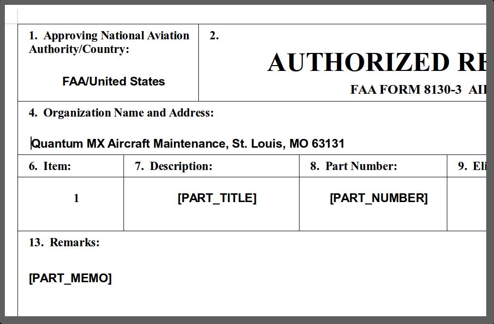 Quantum MX 8130 document template