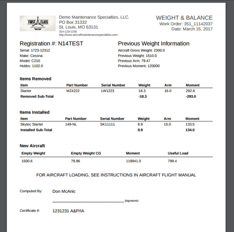Quantum MX work order weight and balance report